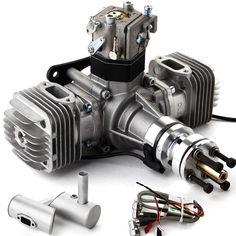 DLE40 40CC Zweizylinder Vergaser Benzin Motor für RC Flugmodell+Ignition Auspuff