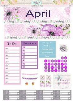 Planner Stickers April 2017 Monthly View Kit by StickAroundDesigns