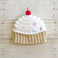 Crochet Cupcake Beanie Hat Newborn Baby Infant Toddler Child Birthday Photography Photo Prop Handmade Baby Shower Gift