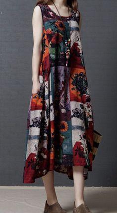 Women loose fit over plus size pocket dress flower Bohemian Boho tunic ethnic #Unbranded #dress #Casual
