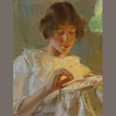 Edward Dufner  (1872-1957)  By Lamplight