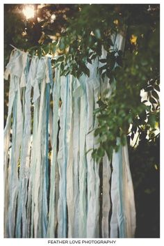 sheets cut in strips tied to rope ...use as backdrop or garland