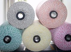 For bunting if we go with paper: Bakers Twine 300 feet of ONE of the BABY Colors Bakers Twine on Chipboard Die Cut Tag - Paris Pink, Banana Yellow, Kraft Brown, Green via Etsy