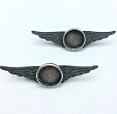 2pc Vintage Wing Pin // Heavy Antique // Bezel // 13mm // Findings // Supplies // Personalize // Made In The USA by Winky&Dutch