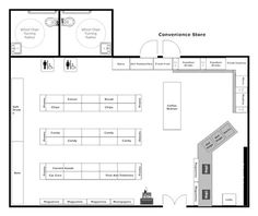 Create floor plan examples like this one called Convenience Store Layout from professionally-designed floor plan templates. Simply add walls, windows, doors, and fixtures from SmartDraw's large collection of floor plan libraries. Design Garage, Shop Front Design, Small Business Plan, Business Planning, Convinience Store, Mini Mercado, Gondola Shelving, Create Floor Plan, Social Housing