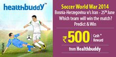 #Predict which team will win the match between #Iran and #Bosnia - Herzegovina on 25th June.  http://www.foreseegame.com/user/GamePlay.aspx?GameID=U2OgglAKk0g49R%2FnmO8aag%3D%3D
