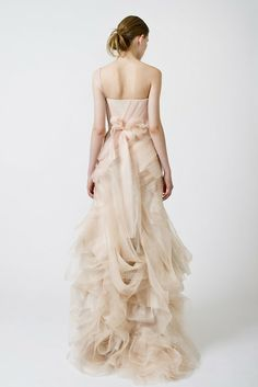 Nude blush dress with beautifully draped layers of sumptuous fabric - dream dress; romantic fashion // Vera Wang