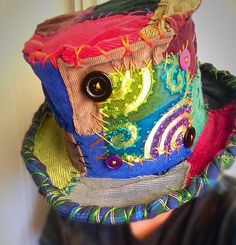 Carnival top hat circus costume patchwork hat mad by MisfitCords