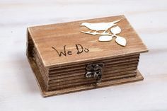 Ring Bearer Box Wedding Ring Box We Do Rustic by MyHouseOfDreams