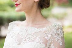 The Rosalyn Long sleeved alencon lace bolero with bateau neckline and rhinestone embellished shoulders.
