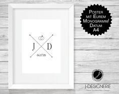 Weiteres - KUNSTDRUCK HOCHZEIT mit Initialen ♥ MONOGRAMM ♥  - ein Designerstück von J-Designerie bei DaWanda
