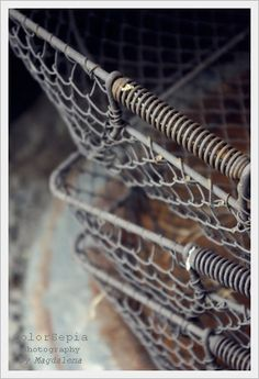Wire baskets, Photograph by Magdalena Kroswski Vintage Industrial, Industrial Furniture, Wire Baskets, Wire Art, Rustic Charm, Vintage Love, Fine Art Photography, At Least, Antiques