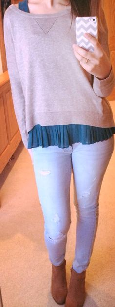 Pleated Aqua Blouse + Sweater + Distressed Jeans + Ankle Booties! - Amanda Groendyke