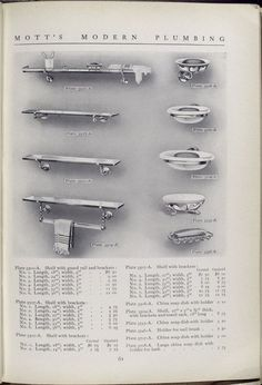 1911 Mott Iron Works catalog. Plate 3501 - A to Plate 3708 - A. Shelf with brackets, China soap dish and holder.