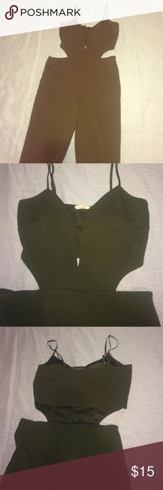 Long, olive, spaghetti strap jumpsuit Stretchy olive jumpsuit. Lightly padded in the front, open middle back, super chic and simple design. Never worn Other