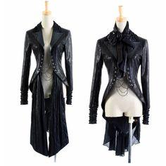 Black Gothic Vampire Emo Goth Cosplay Costumes Jackets for Women Men