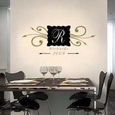 Personalized Family Name Monogram vinyl wall decal