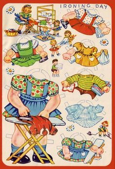 These Paper Dolly Fun paper dolls are the cutest things.  Drawn by paper doll artist Ann Kovach, they embody homemaking at its finest.  I love them!  I am not sure of the publisher, but I believe they are from the 1940