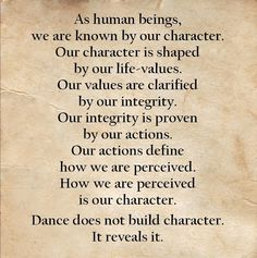 Dance does not build character