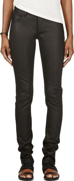 Rick Owens - Black Lambskin Trousers 2510-753$