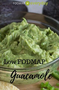 "When you think of ""guac"" you might assume it is high FODMAP and that you cannot have any. Well, a hefty serving is high FODMAP, but avocado is low FODMAP at 30 g, which is about 2 tablespoons of mashed avocado, and that is what guacamole basically is. Fodmap Recipes, Diet Recipes, Healthy Recipes, Soup Recipes, Vegetarian Recipes, Recipies, Fodmap Diet, Low Fodmap, Fodmap Foods"