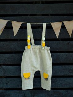 Unisex Baby's Pants Linen Development Senses Texture Color Educational Motility