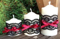 Burlesque Soy Pillar Candle Trio Scented with by pilipalahandmade, £20.00  Other…