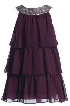 Sweet Kids Girls Triple Tiered Chiffon Flirty Party Flower Girl Dress (Plum)