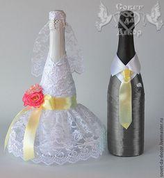 """Купить Украшение свадебных бутылок """"жених и невеста"""" - украшение бутылок, свадьба, свадебные бутылки, свадебное"""