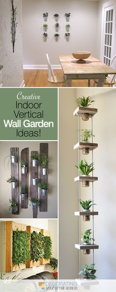 These DIY indoor vertical garden planters let you add living plants right into your decor! Hang these indoor wall planters year round, indoors! Vertical Garden Planters, Vertical Gardens, Wall Planters, Succulent Planters, Indoor Succulent Garden, Hanging Herb Gardens, Indoor Succulents, Hanging Herbs, Succulent Ideas