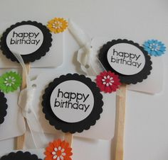 Happy Birthday Cupcake Toppers  Black and White by Whimsiesbykaren, $2.50