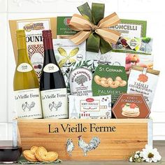 Wine Gift Baskets - French Wine Gift Basket Wine Country Gift Baskets, Mother's Day Gift Baskets, Wine Baskets, Smoked Gouda Cheese, Raspberry Fruit, Bordeaux Wine, Dried Figs, French Wine, Perfect Mother's Day Gift
