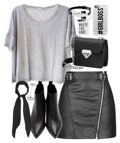 """Outfit with a grey tee and leather skirt"" by ferned ❤ liked on Polyvore featuring Clu, Topshop, Acne Studios, Yves Saint Laurent, Casetify, Cartier and Monica Vinader"