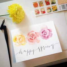 Watercolor Spring greeting card by @kindredcalligraphy