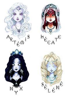 New Fantasy Art Moon Goddess Mythology 64 Ideas Greek Mythology Tattoos, Greek Gods And Goddesses, Greek And Roman Mythology, Fantasy Kunst, Fantasy Art, Moon Goddess, Greek Goddess Art, Artemis Goddess, Hecate Goddess
