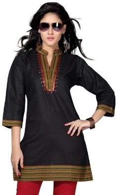 Indian Tunic Top Long Kurti Womens Black Cotton Blouse India Clothing - Listing price: $54.99 Now: $28.99