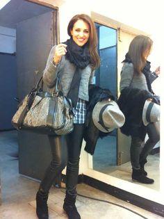 Paula Echevarria with Burberry Prorsum Knight Studded Bag