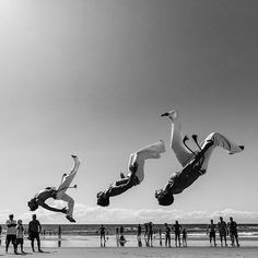 """Leo Flores (@leofloresfotografia) is one of our featured voices from The Week on Instagram. He stumbled upon this group practicing capoeira on a beach in Brazil. """"It was a beautiful day and I woke up early to photograph the sunrise,"""" he says. """"Three guys did a synchronized jump to warm up and I decided to shoot. I like the feeling that they are flying."""" Photo by @leofloresfotografia"""