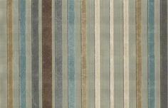 Rossini Velvet Stripe Fabric Graded aqua and beige brown velvet stripe on aqua cloth