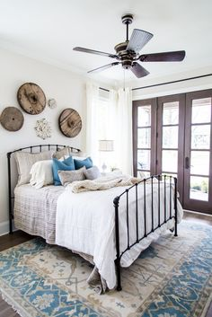 Regency Homebuilders  |  Frontgate Collection: Guest Bedroom, French Country, Rustic, Blues, French Doors (Somerset - Kingston Plan)