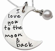 Crescent Moon Necklace with Pearl - Hand Stamped Jewelry - Sterling Silver Mommy Necklace