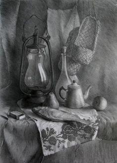 53 Still Life Drawing Ideas - Art Still Life Sketch, Still Life Drawing, Still Life Art, Pencil Sketch Drawing, Pencil Drawings, My Drawings, Academic Drawing, Object Drawing, Figure Sketching