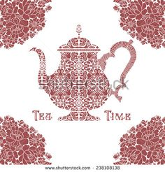 Tea time concept. Ornamental Teapot and sign on the white background with floral…