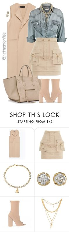 """""""Just Cause"""" by highfashionfiles ❤ liked on Polyvore featuring Zara, Balmain, Hoorsenbuhs and Ettika"""