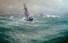 This nice painting can be seen in the Maritime Museum Marstal, Denmark. It depicts a barquentine, a three masted rig. The scene is a stormy meeting between steam and sail. Unfortunatily I do not know who made this marvelous marine painting.
