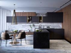 New kitchen black wood modern interior design Ideas New Kitchen, Kitchen Decor, Kitchen Wood, Kitchen Black, Kitchen Ideas, Wood Interior Design, Interior Doors, Modern Interior, Contemporary Bedroom