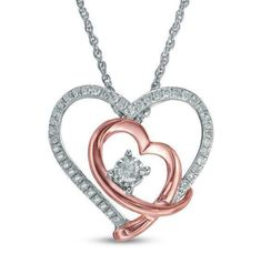 """Sterling Silver Diamond Double Heart Couples Collier Pendentif 0.12 ct 18/"""""""