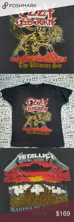 "Vintage OZZY/METALLICA Tshirt Ozzy Osbourne / Metallica 1986 Ultimate Sins / Master of Puppets Tour In really great condition for the year!  Size - Tag faded but can make out size 46...which is a L/XL Measures 21"" pit to pit Shirts Tees - Short Sleeve"