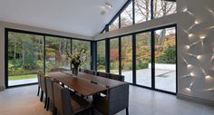 Oakdale Manor combines beautiful, classic stone construction, partnered with our contemporary aluminium windows and doors. Express Bi Folding Doors, Aluminium Windows And Doors, Study Inspiration, Case Study, Patio, Diners, Contemporary, Extensions, Furniture