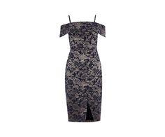 Oasis, JACQUARD BARDOT PENCIL DRESS Multi Blue